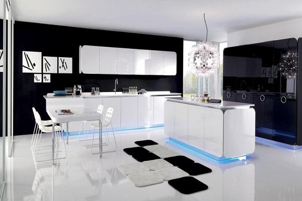 """Чёрно-белая кухня в стиле """"Хай-тек"""" с подсветкой столов и шкафа"""