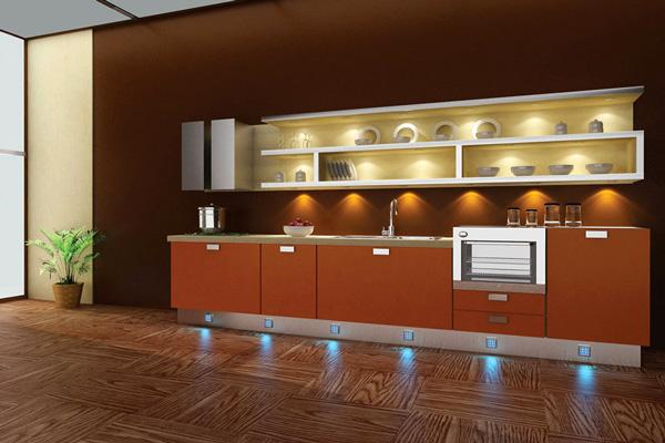Освещение кухонных полочек и напольного покрытия