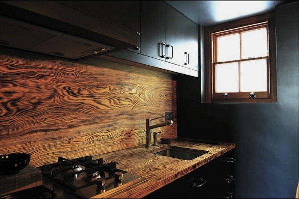 Дизайнерская столешница и фартук из массива дерева