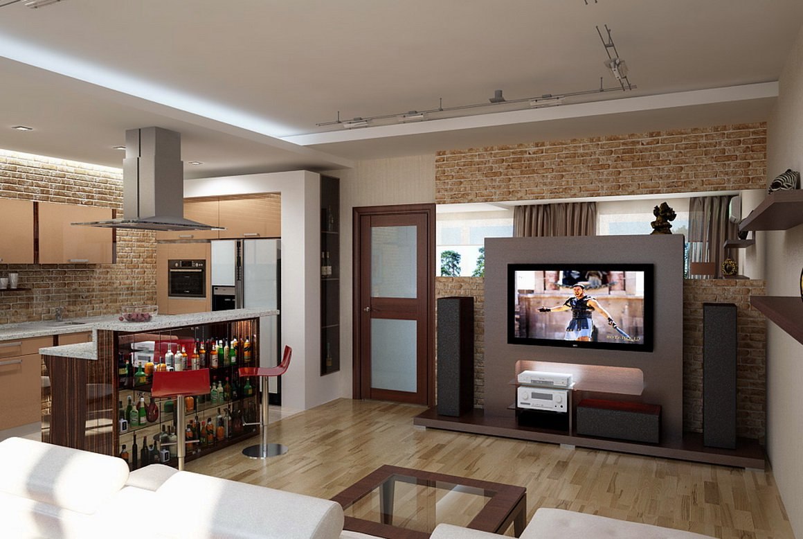 Дизайн кухни с комнатой студии