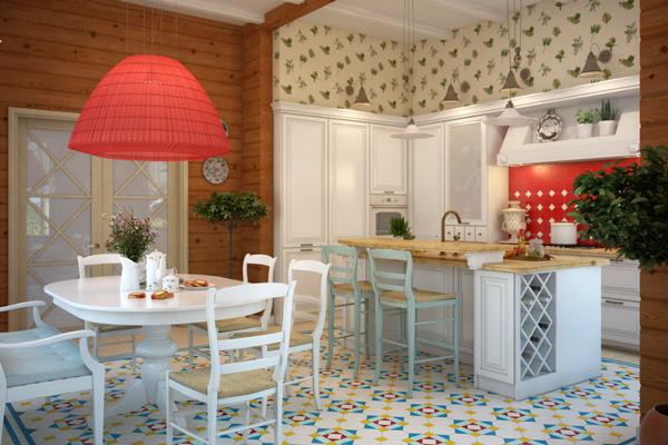 Уютный дизайн кухни-столовой с деревянной мебелью