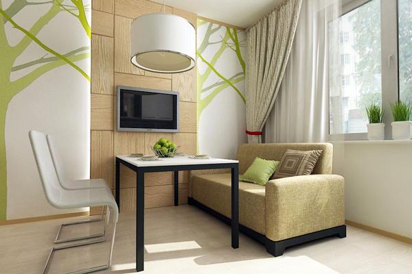 Диван и телевизор – неотъемлемая часть обеденной зоны