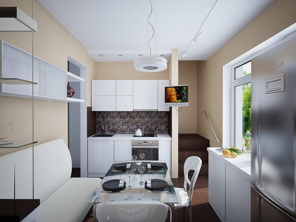 Дизайн маленькой кухни со столовой