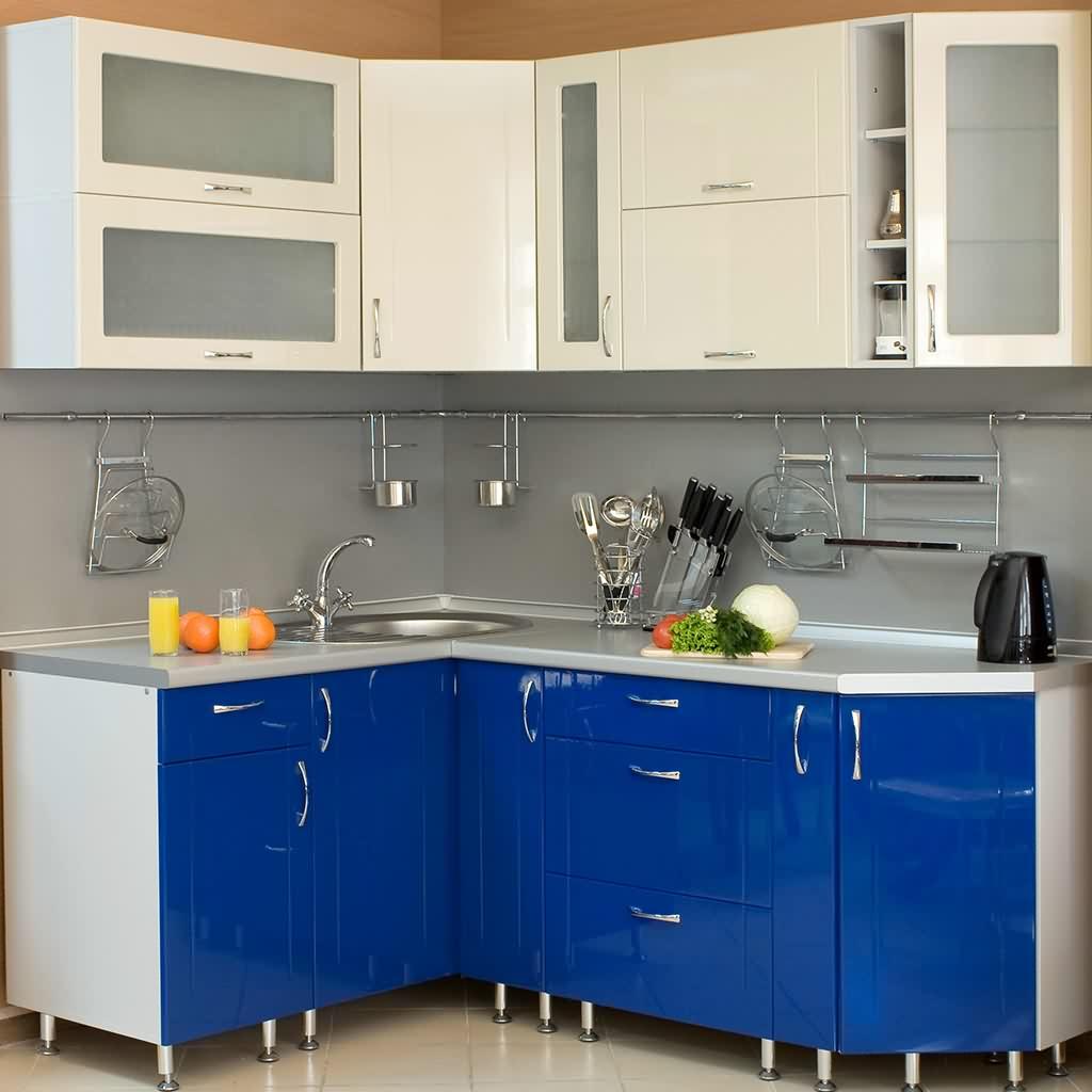 Обои для кухни синей фото