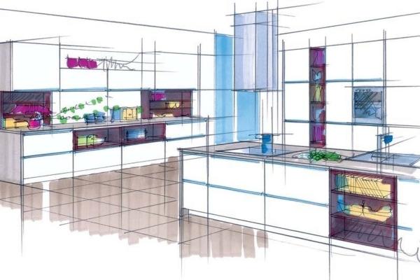 Эскиз цветового дизайна кухни