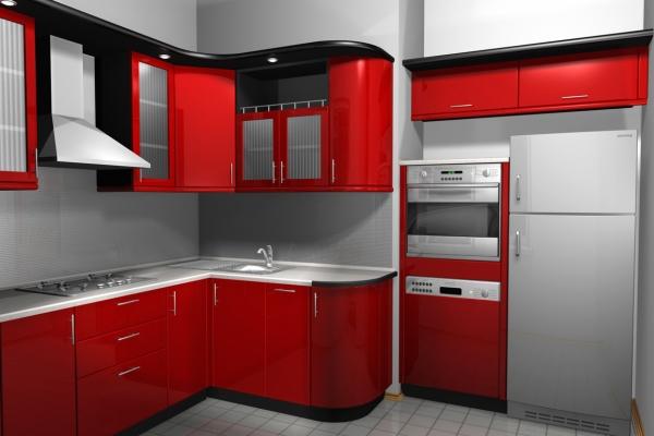 Красно-черный гарнитур с угловыми шкафами