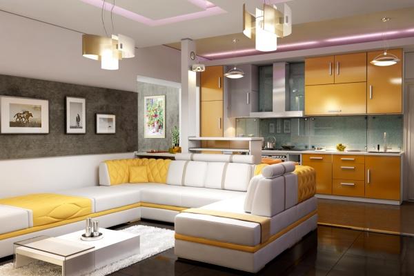 Жёлто-белая кухня-гостиная с фиолетовой подсветкой