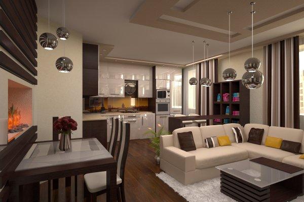Кухня-гостиная декорированная сферическими люстрами