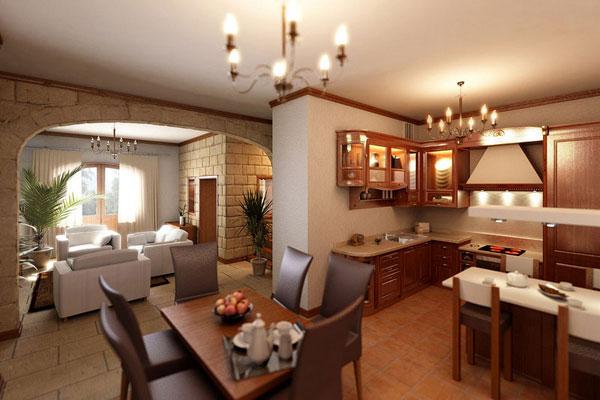 Гостиная, кухня и столовая в одном большом помещении