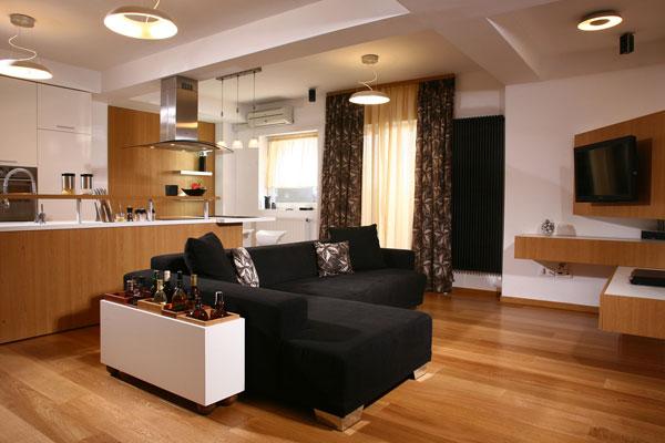 Гармоничное освещение кухни-гостиной