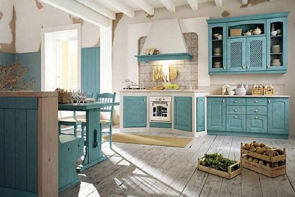 """Кухонная мебель тёмно-голубого цвета в стиле """"Прованс"""""""