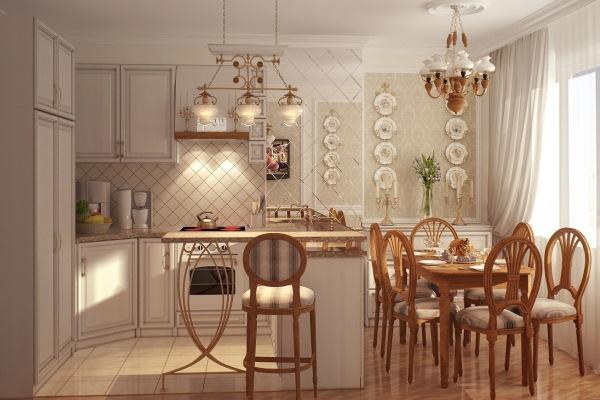 """Комбинированное освещение на кухне в стиле """"Прованс"""""""