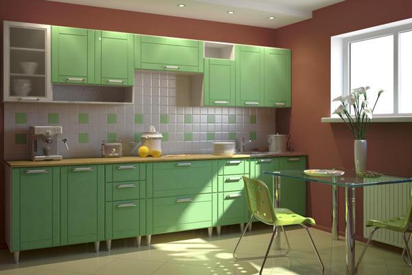 Прямая кухня зеленого цвета