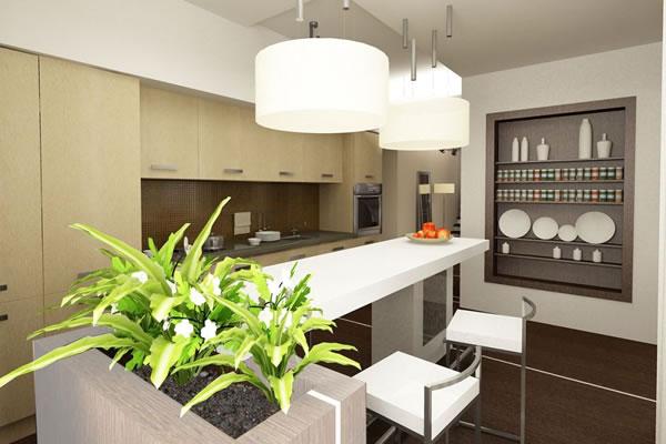 Комнатный цветок в интерьере кухни