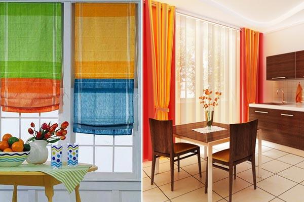 Яркие занавески на кухонных окнах