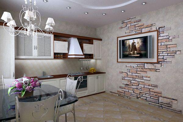 """Декор кухонной стены под """"садовый кирпич"""""""