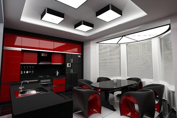 """Кухня в стиле """"Хай-Тек"""" с преобладающими красным и чёрным"""