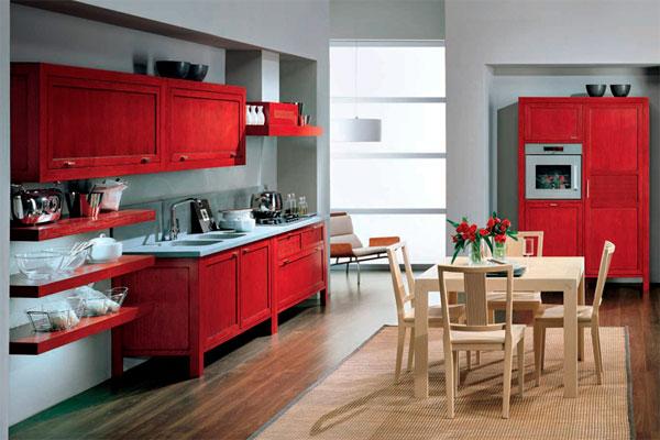 """Красная мебель для кухни итальянского производителя """"Bamax"""""""
