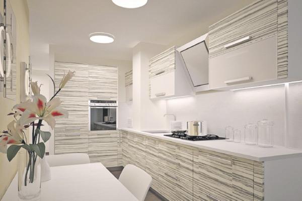 Вентиляционный короб, вписанный в интерьер кухни