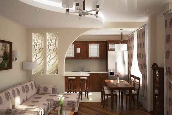Многоуровневый потолок и перегородка из гипсокартона