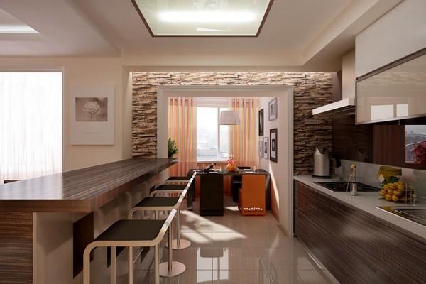 Кухня-гостиная разделённая барной стойкой