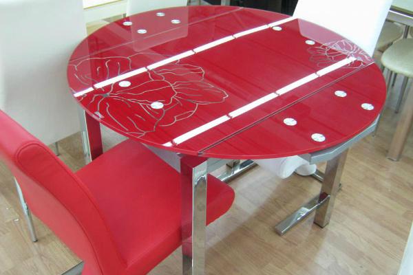 Круглый стеклянный стол-трансформер