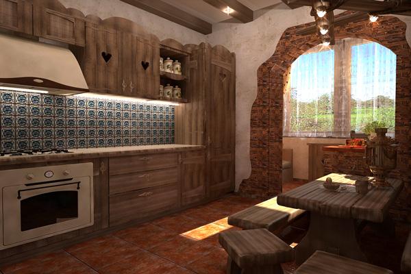 Интерьер кухни под старину с природными материалами