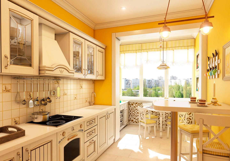 Дизайн кухни с балконом в винтажном стиле.