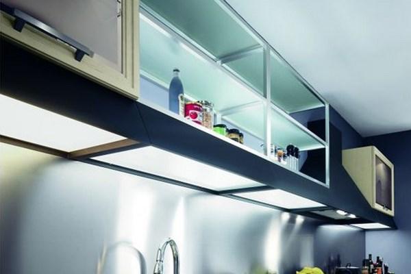 Навесные шкафчики с подсветкой и стеклянным дном