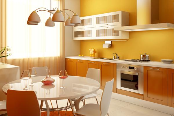 Кухня в белых и оранжевых тонах