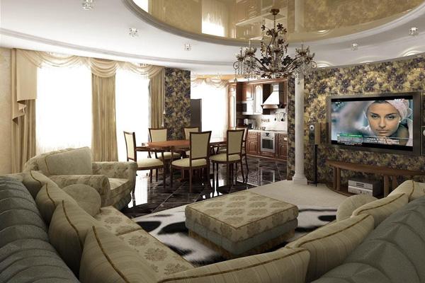 Единый дизайн кухни и гостиной в частном доме