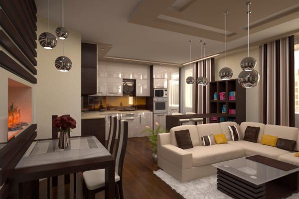 Уютная кухня-гостиная в молочно-шоколадном цвете