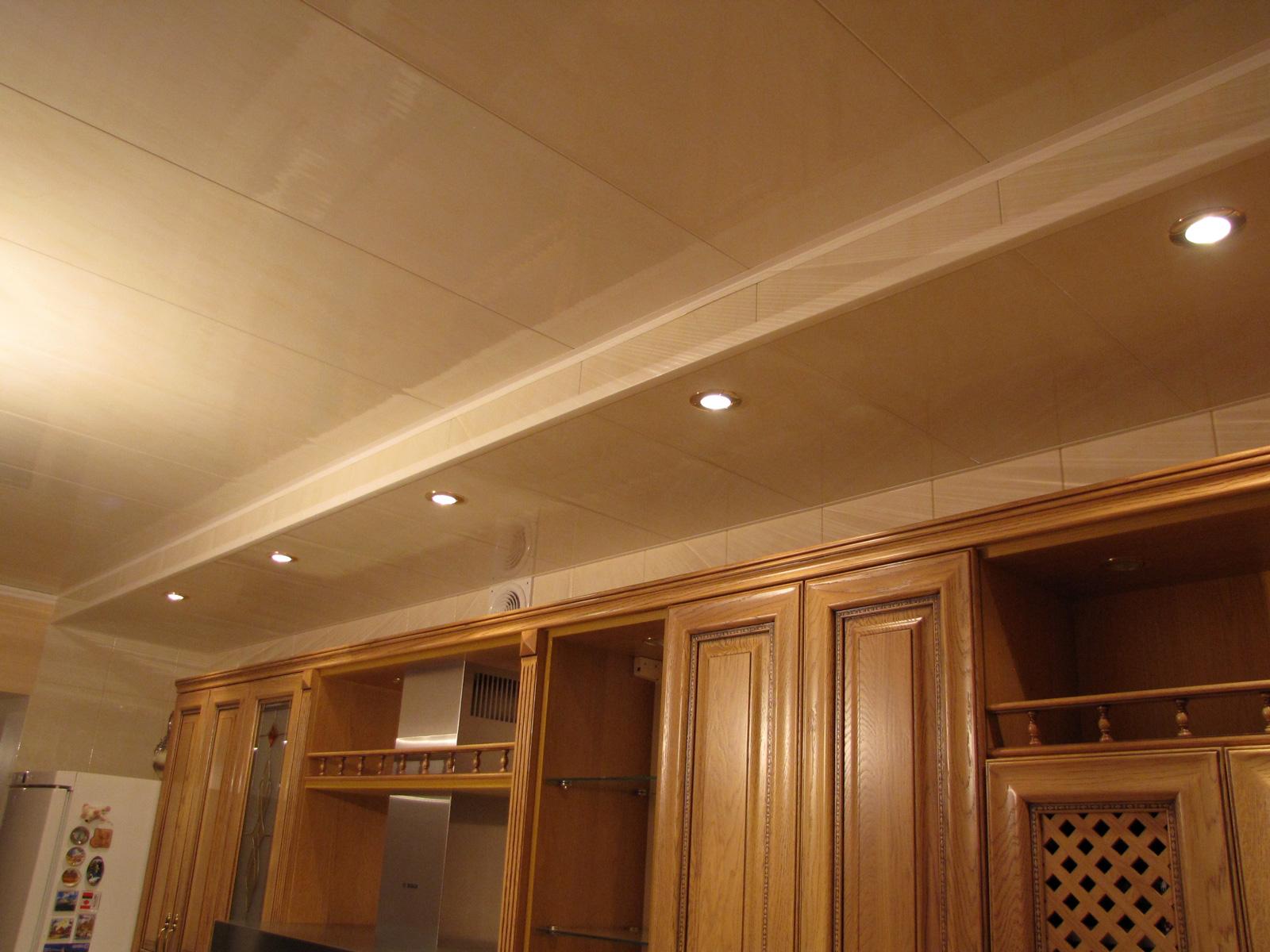 Дизайн потолков в кухне из пластиковых панелей