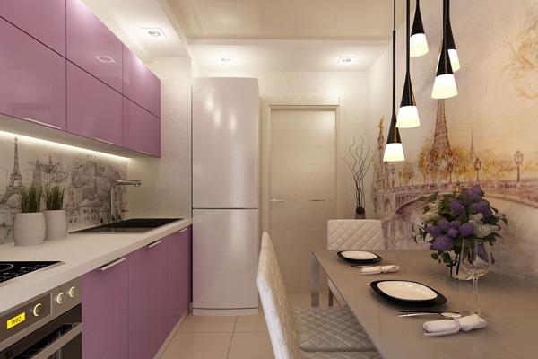 Романтическая сиреневая кухня