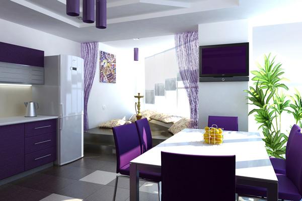 Темно-сиреневая кухня в цвет стульев