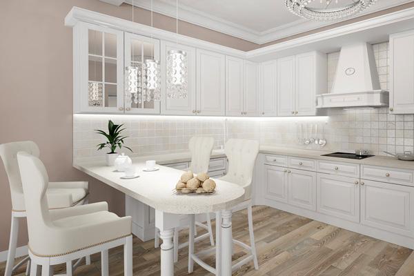 Деревянная белая кухня с паркетом на полу