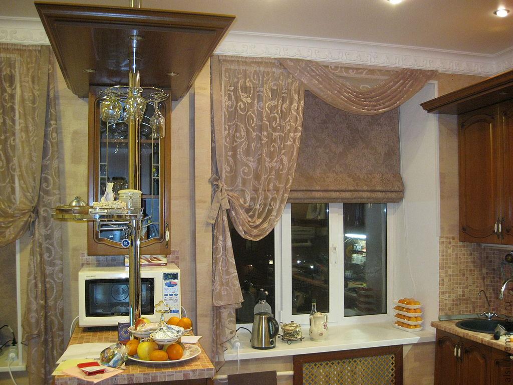 Дизайны римских штор для кухни