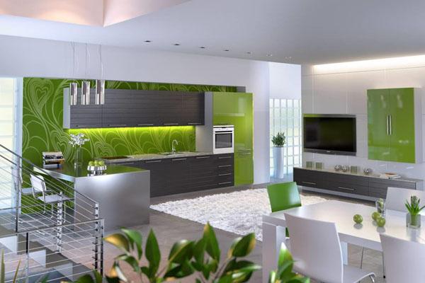 Зелёный цвет в дизайне кухни-столовой