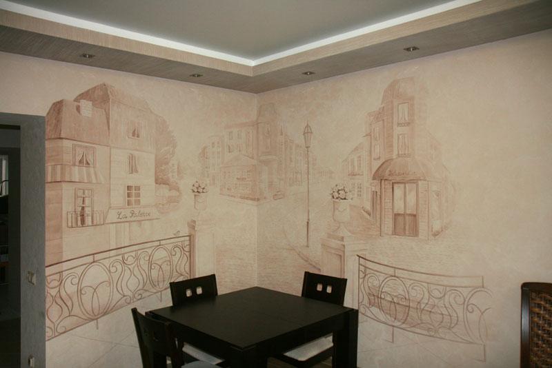 Гризайли на стенах кухни