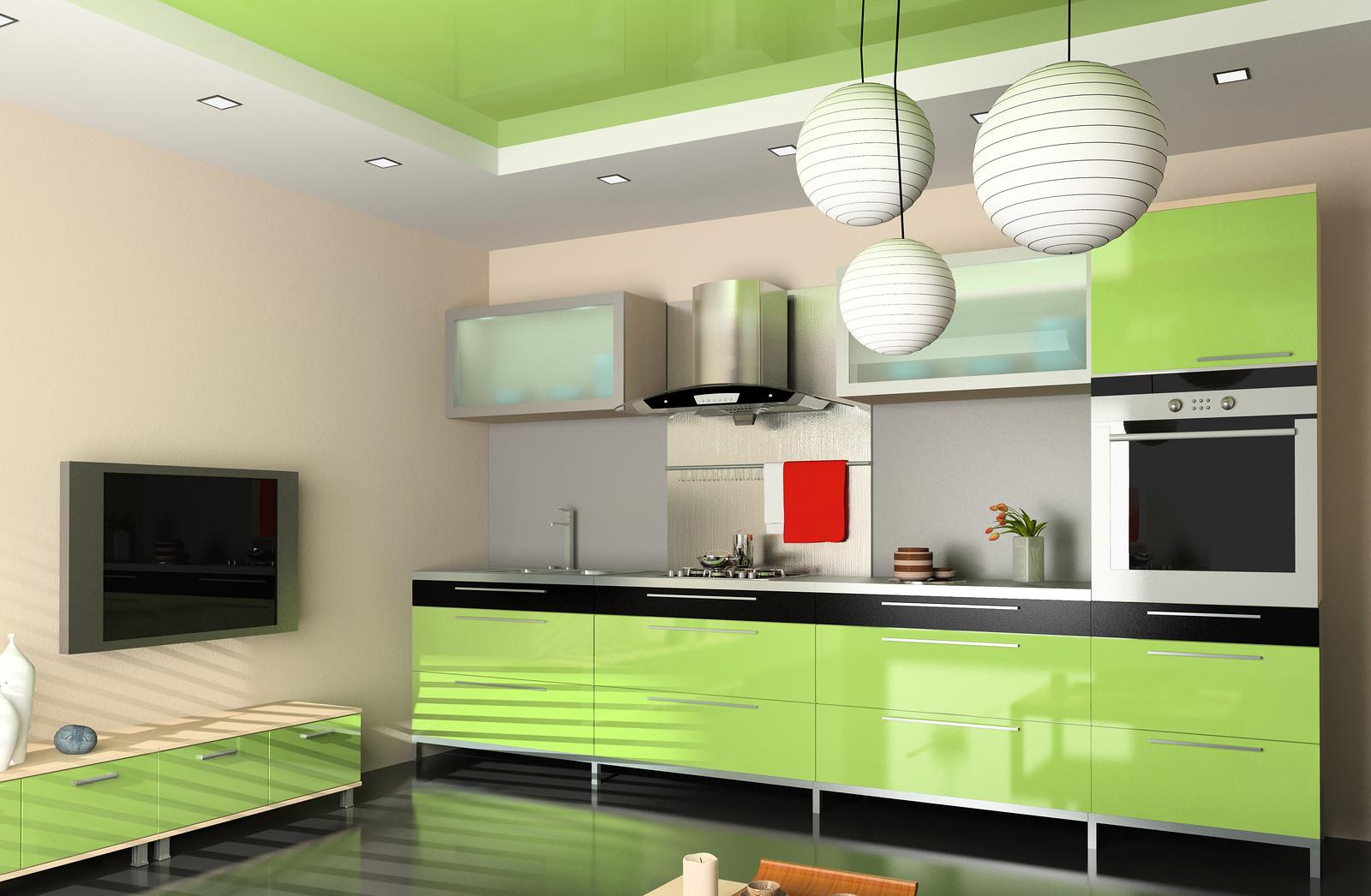 Кухня оливковая в стиле модерн