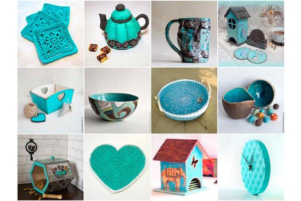Посуда, текстиль и аксессуары бирюзового цвета для кухни