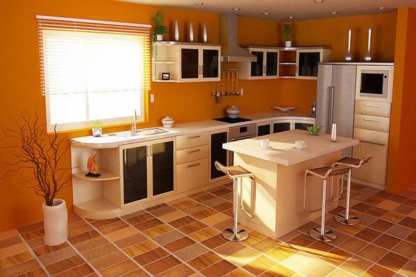 Линолеум на полу в сочетании с дизайном кухни