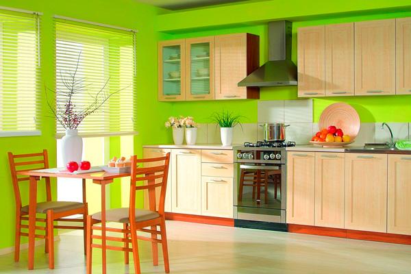 Просторная кухня салатового цвета по фен шуй
