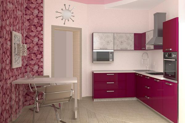 Угловое размещение кухонного гарнитура
