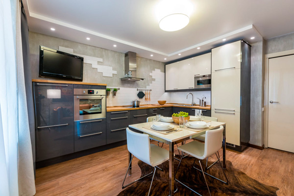 Оформление интерьера кухни-столовой