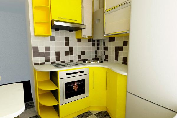 Яркая кухня канареечного цвета