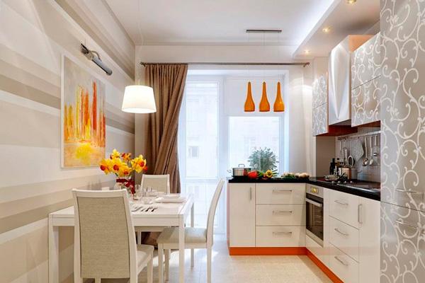 Дизайн кухни 8.8 квадратных метров с балконом