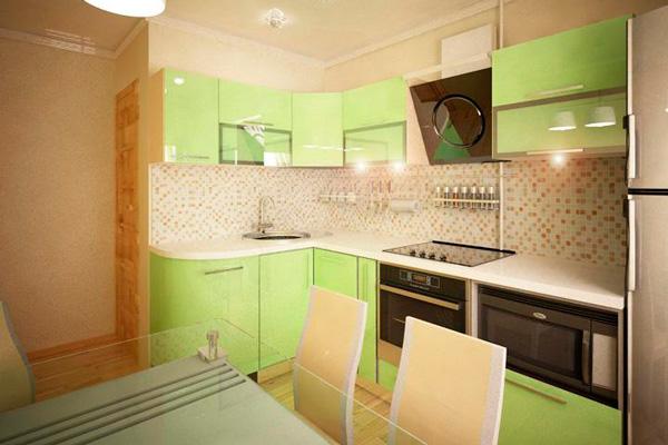 Угловая кухня нежно зеленого цвета