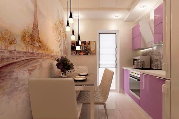 Розовая глянцевая кухня с бежевым натяжным потолком