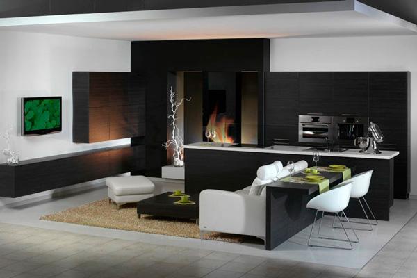 Интересный дизайн совмещения кухни с гостинной